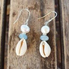 Akvamarino ir perlų auskarai