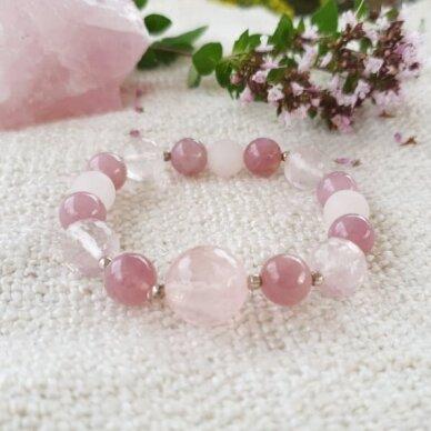 Rožinio kvarco apyrankė su sidabro detalėmis 2
